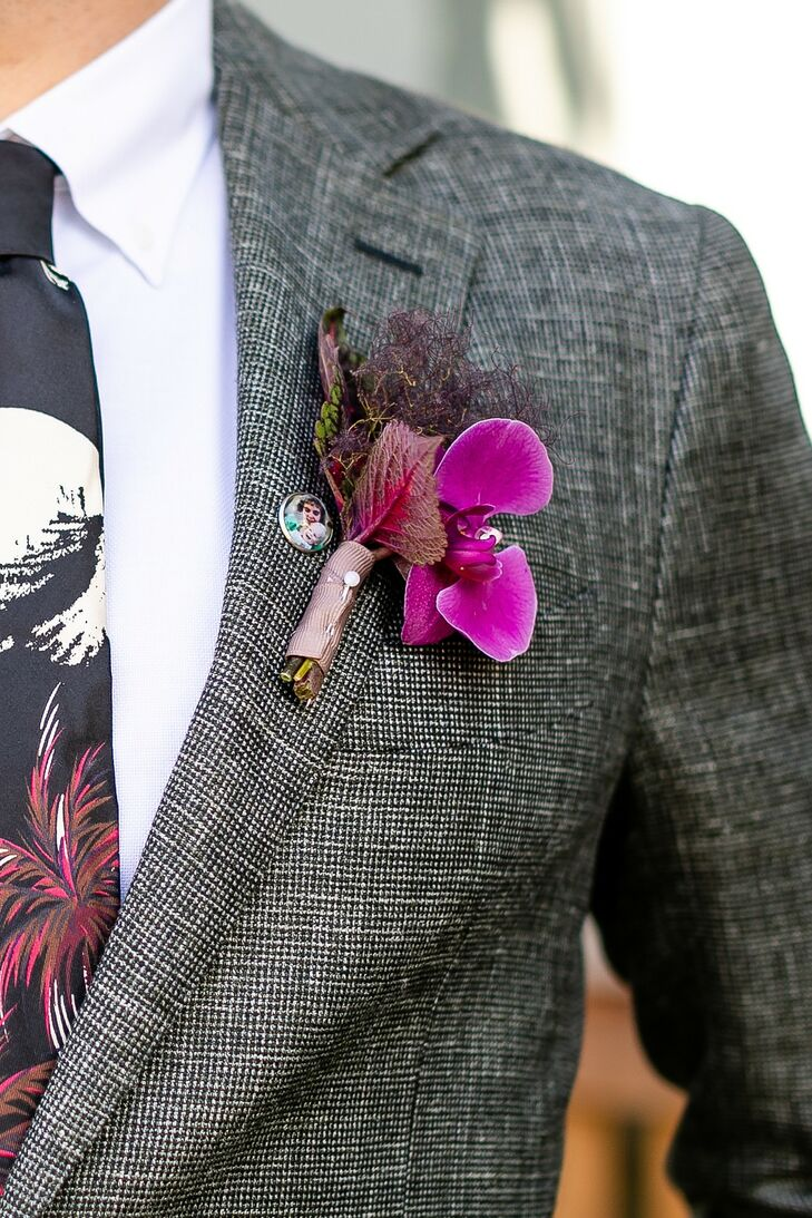 Eclectic Boutonniere with Dried Leaves, Purple Flower and Button