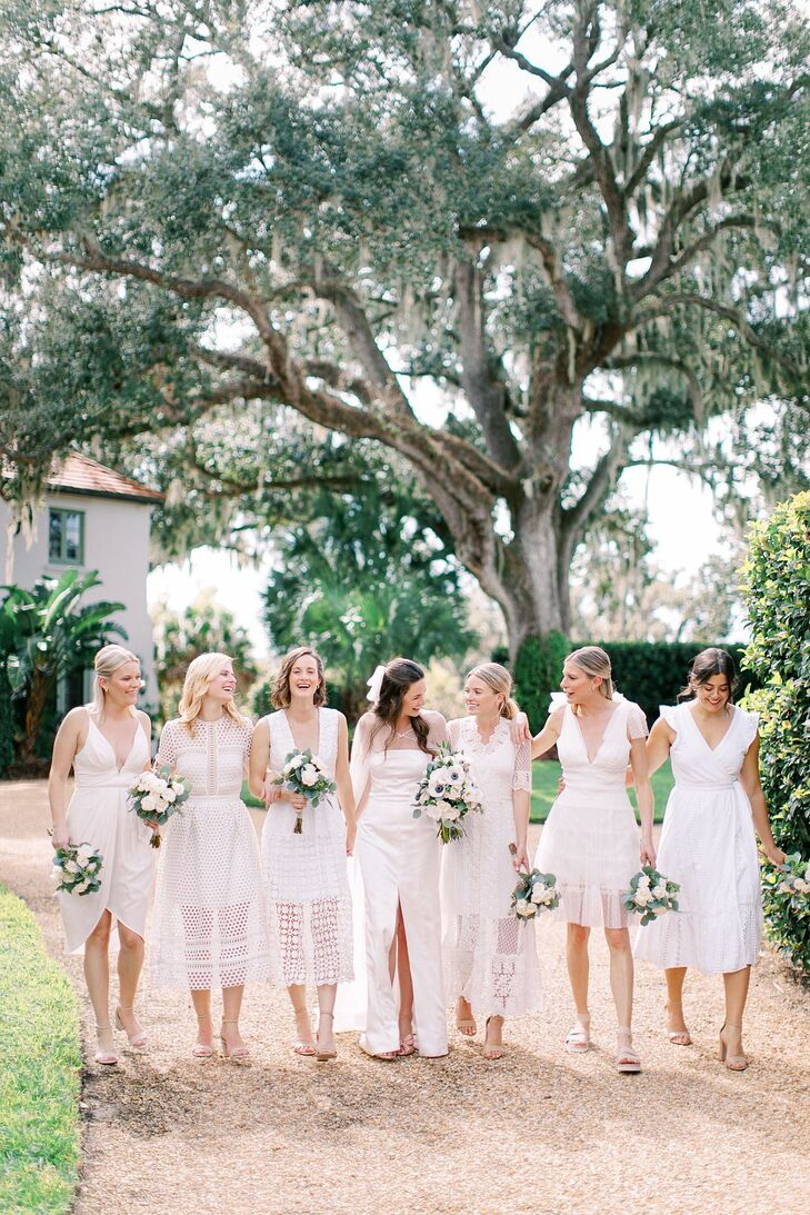 Whimsical Bride and Bridesmaids with Short White Dresses