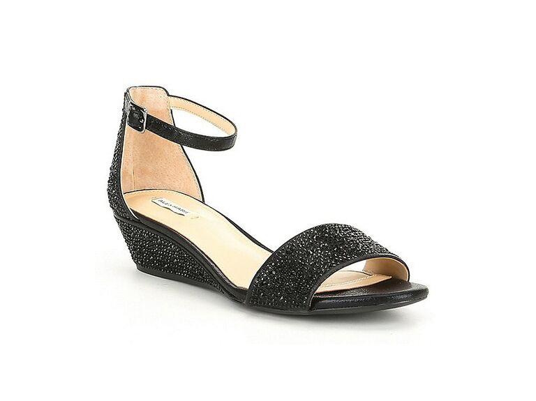 black low heel wedding wedges