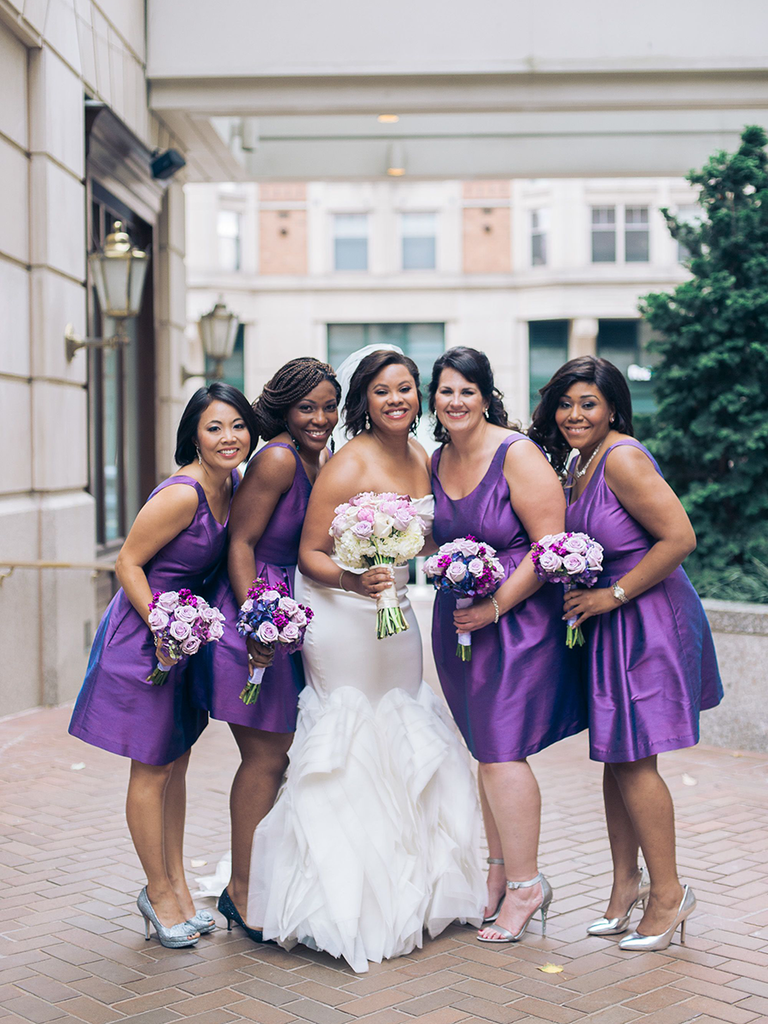 short bridesmaid dresses purple