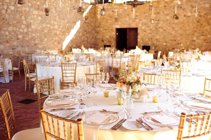 A soft mix of glittery gold, ivory, peach, blush and lilac accents created a warm, rustic and romantic environment at Nicole and Derek's reception at Silverleaf Club in Scottsdale, Arizona.