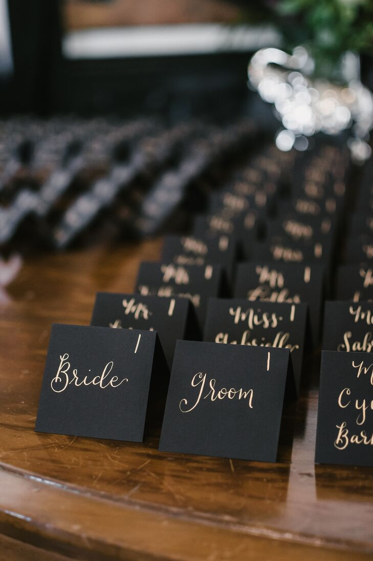 Black and Gold Hand-Lettered Escort Cards