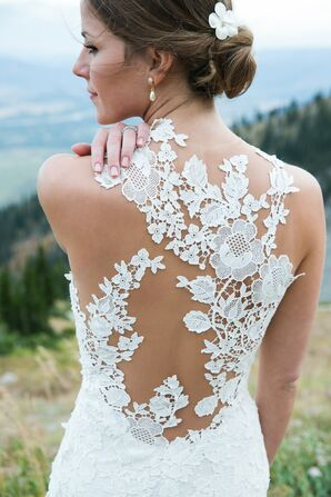 Graphic Floral-Lace Illusion Back