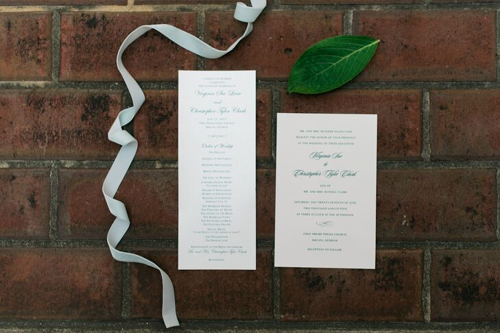 Ginnie and Tyler's invitations and programs were ivory with elegant green script to tie in their color scheme with a hint of summer.