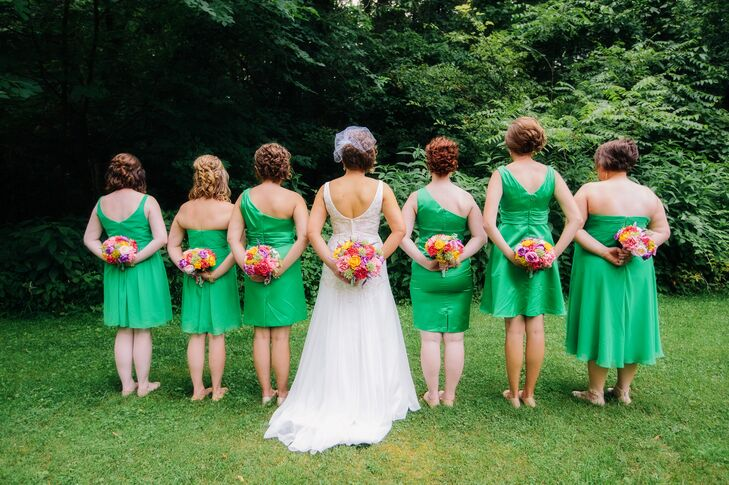 Short Kelly Green Bridesmaid Dresses