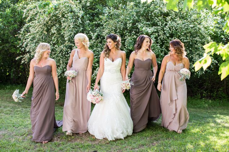 Formal Bridesmaid Dresses in Brown and Nude