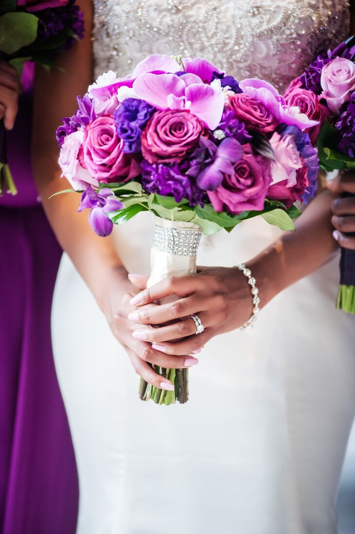 """""""I absolutely love orchids, so I knew we had to have them in the bouquets as well as the centerpieces,"""" Felicia says."""