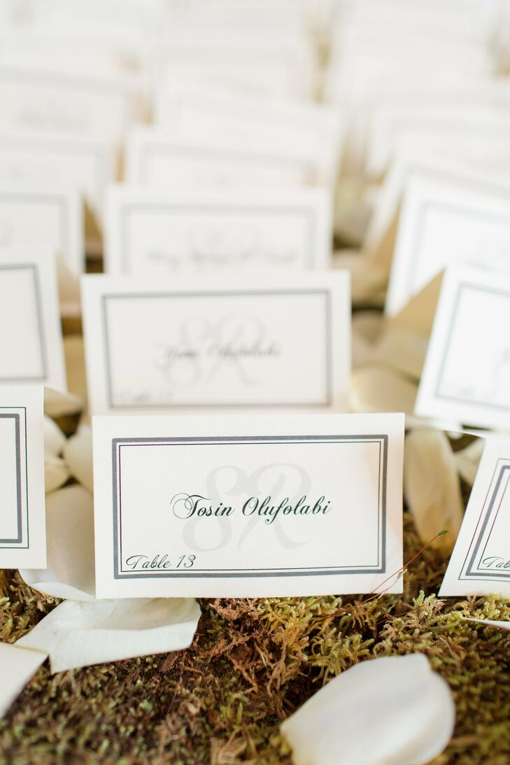 Tented Monogrammed Escort Cards