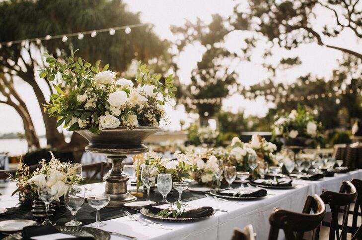 Tall Ivory Rose and Greenery Centerpiece in Tall Pewter Vase