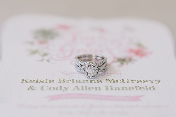 """He created the ring I had imagined in my mind: an emerald-cut diamond with a halo and a twisted band,"" Kelsie says."