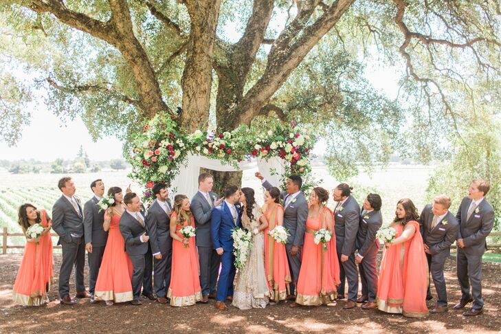Coral and Gray Wedding Party Attire