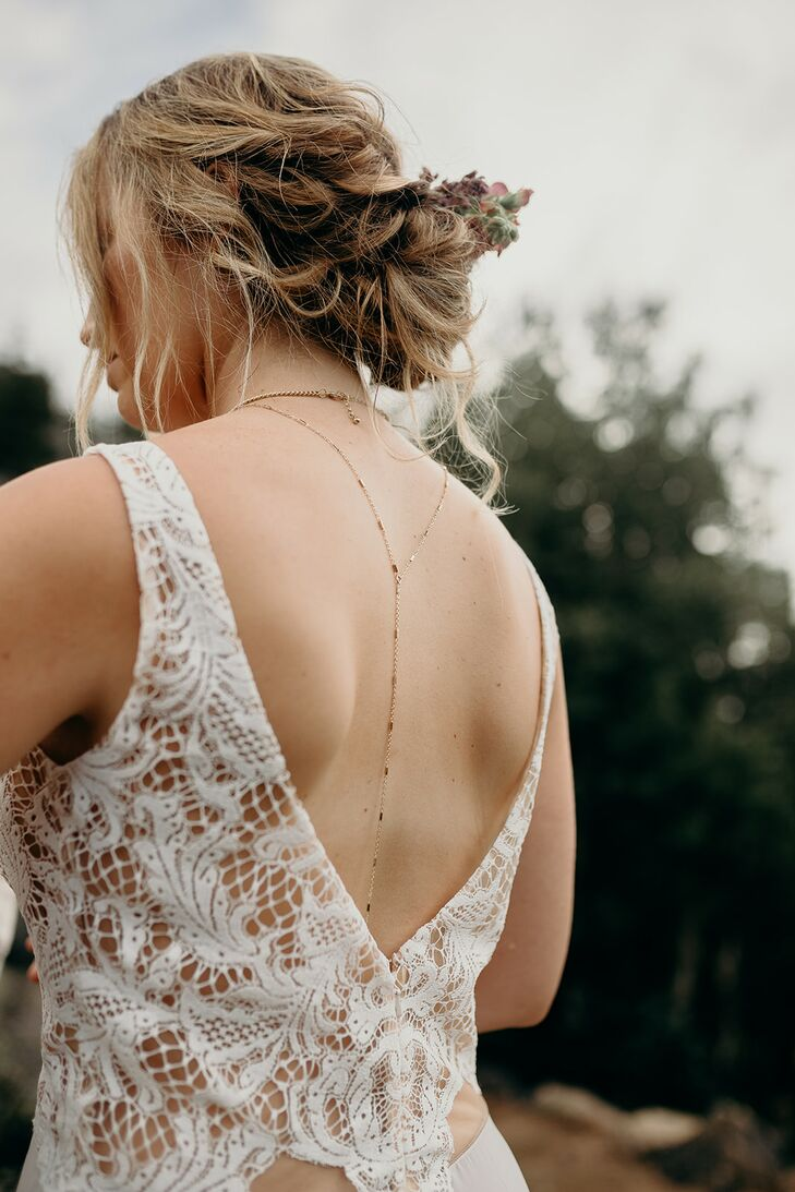 Bohemian Bride with Necklace, Updo and Lace Dress