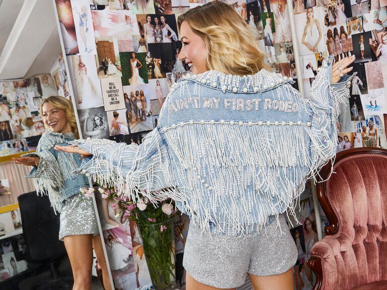 hayley paige denim bridal jean jacket the knot magazine spring 2020