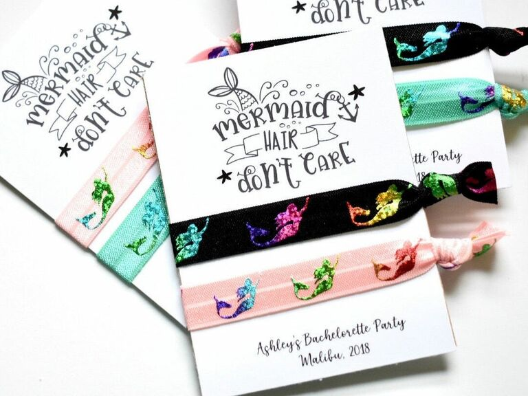 Mermaid party favor hair ties for a mermaid themed bachelorette