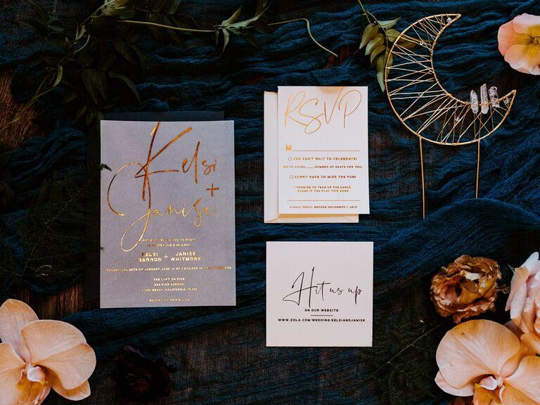 winter wedding ideas metallic stationery