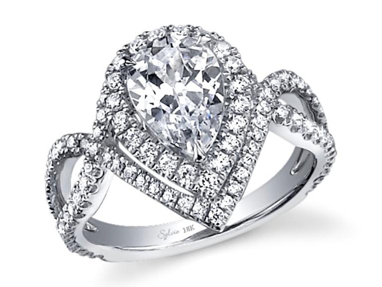Sylvie Unique Halo pear-shaped engagement ring
