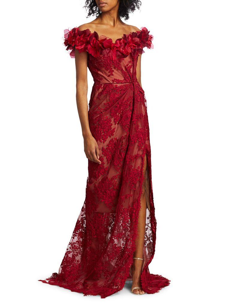 Marchesa floral lace off-the-shoulder gown