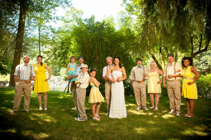 """The bridesmaids all chose simple yellow sundresses,"" says Jessica. ""I wanted each girl to have her own look, and the colors were all in different shades of yellow. The gents had the same slacks and I pulled from the wedding colors of yellow and blue for all the accessories."""
