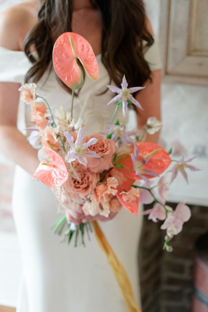 Whimsical Pink Bouquet with Anthurium and Roses