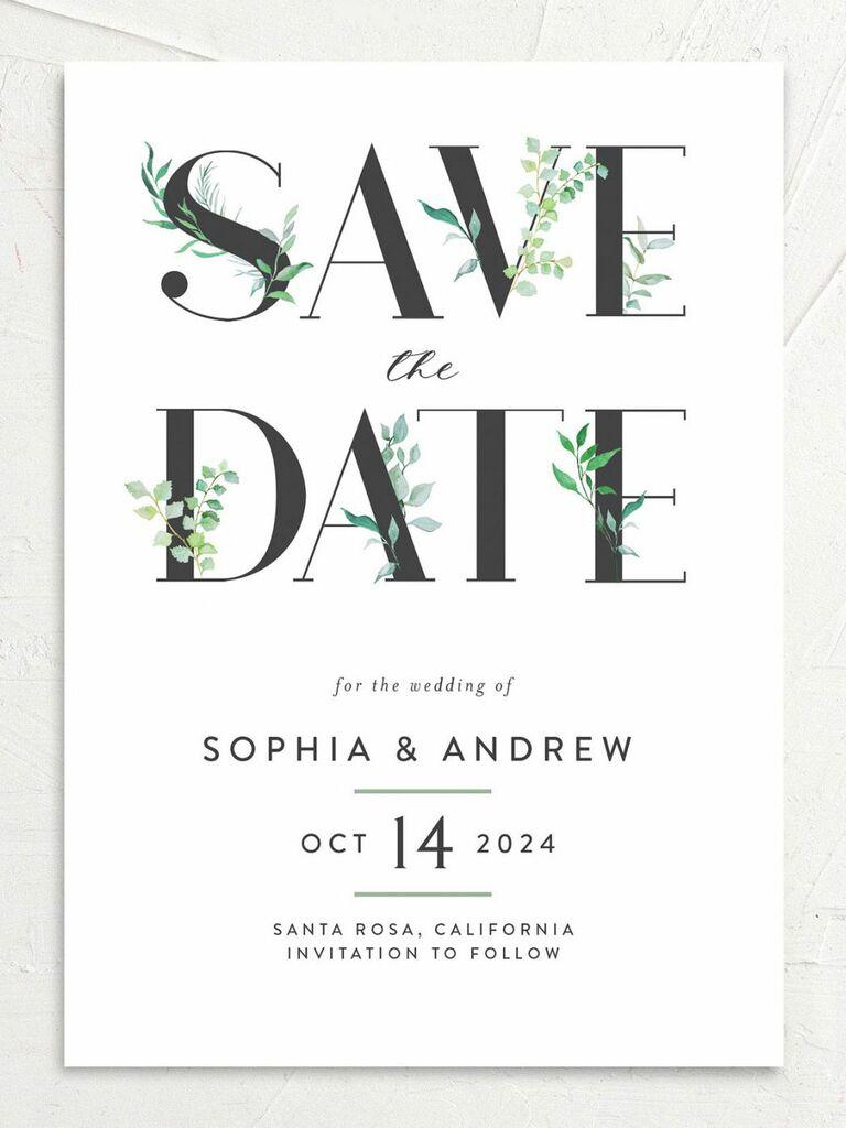 minimalist destination wedding save the date
