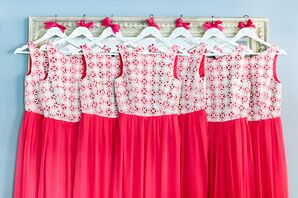 Fuchsia Patterned Bridesmaid Dresses