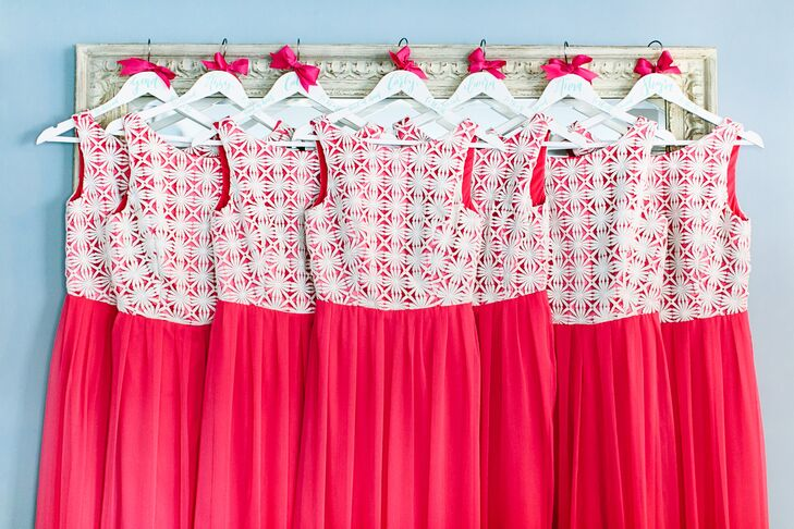 """I knew I wanted the bridesmaid dresses to fun—and pink,"" says Amanda, who chose bright fuchsia gowns from Lela Rose with a lively pattern on top."