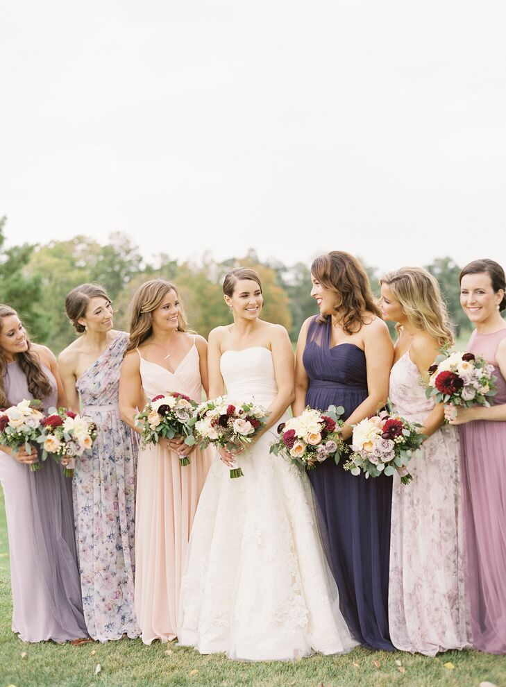 Bridesmaids in Mismatched Pastel Gowns