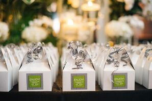 Macaroon Favor Boxes Tied with Gingham Ribbon
