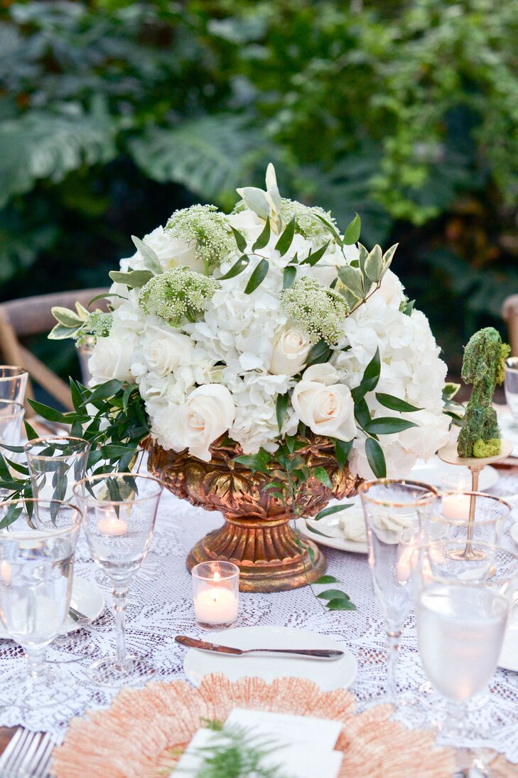 Centerpieces with Roses, Baby's Breath and Hydrangeas