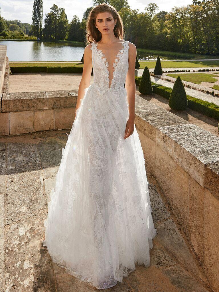 Galia Lahav white gown with deep V-neck bodice
