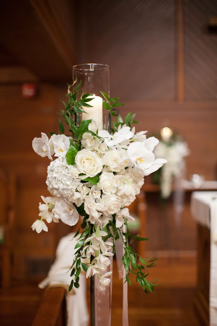 White Flower And Candle Wedding Altar Decor