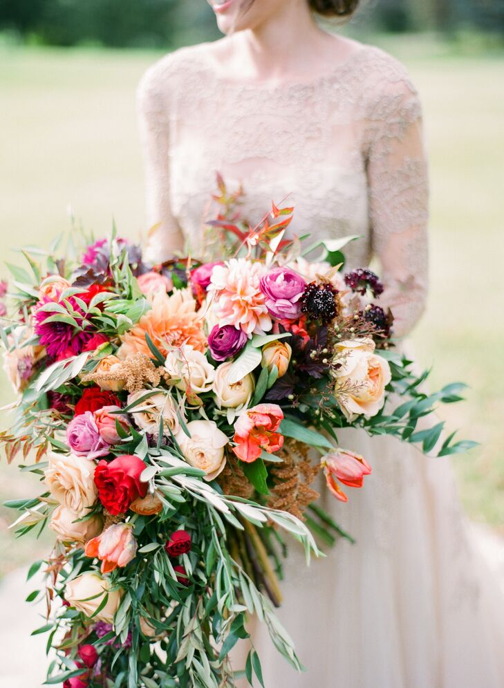 Cacading Bouquet with Ranunculus and Greenery