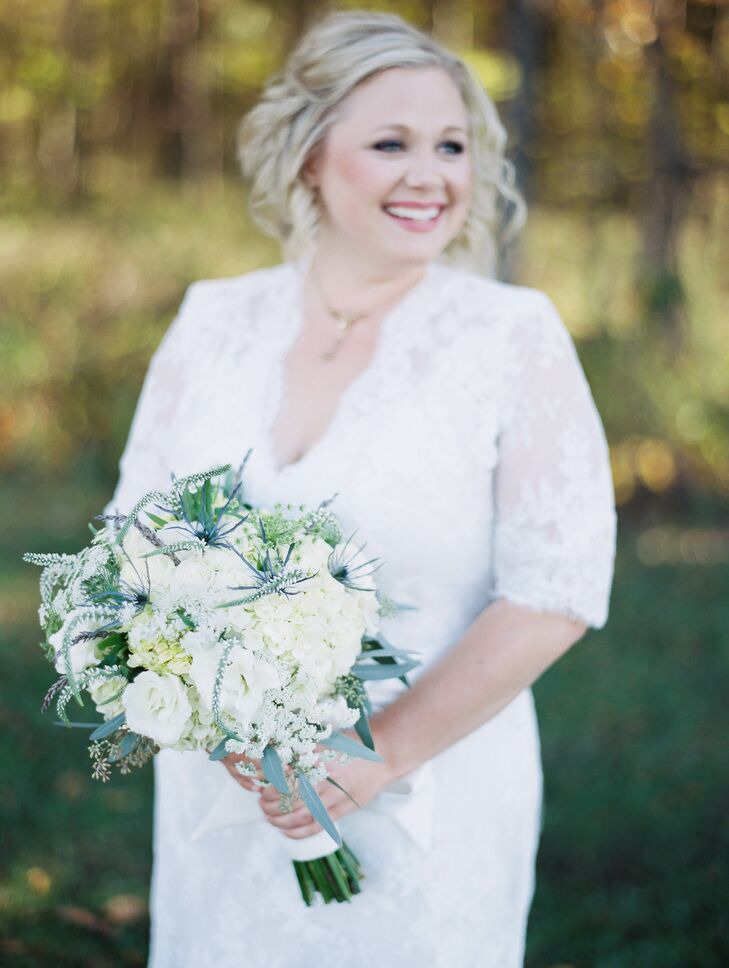 Allison carried white Veronica, hydrangeas, lisianthus, lavender, seeded eucalyptus, queen anne's lace and thistle in her bouquet.