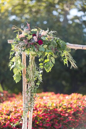Cascading Ivy and Colorful Astilbe Arrangement