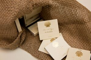 Ivory and Gold Matchbook With Seashell