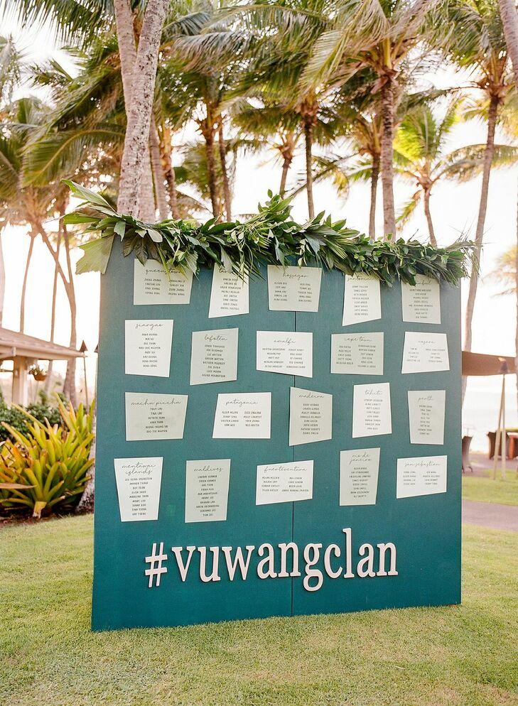 Seating Chart at Tropical Reception in Kapalua, Hawaii