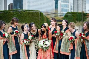 Navy Bridesmaid Dresses with Colorful Hindu-Inspired Shawls
