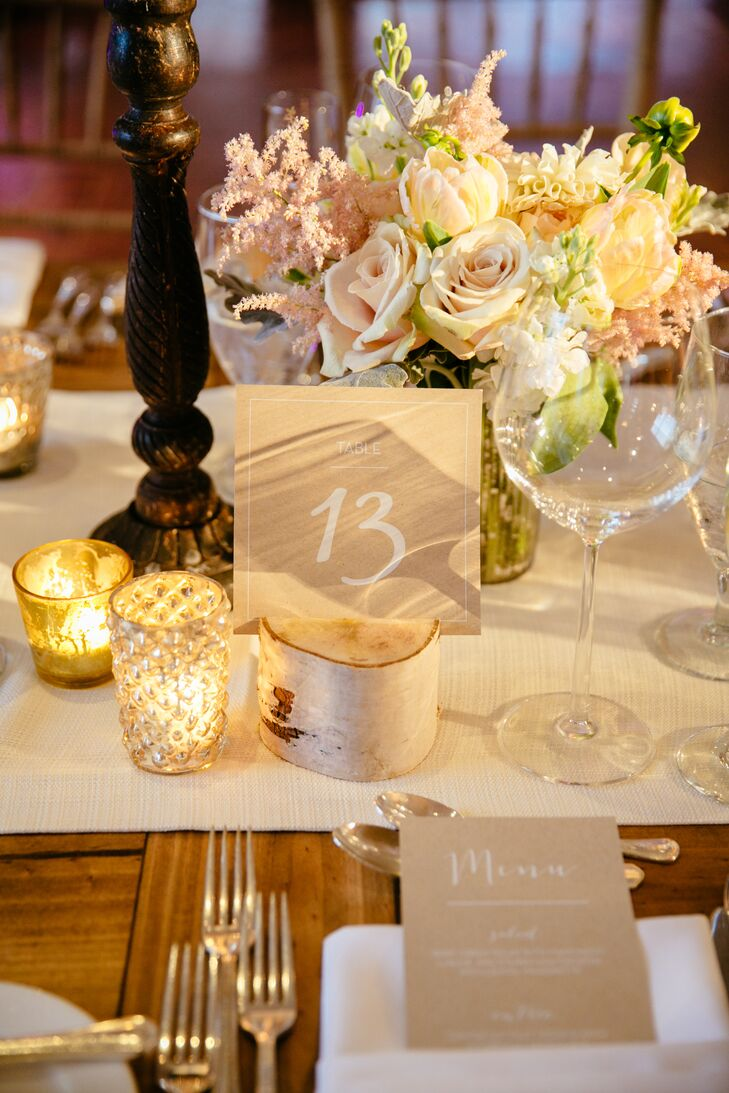 Neutral Table Number on Birchwood Stand