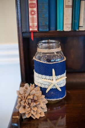 Blue Burlap and Lace-Wrapped Mason Jar