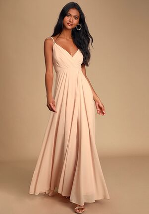 Lulus All About Love Blush Pink Maxi Dress V-Neck Bridesmaid Dress