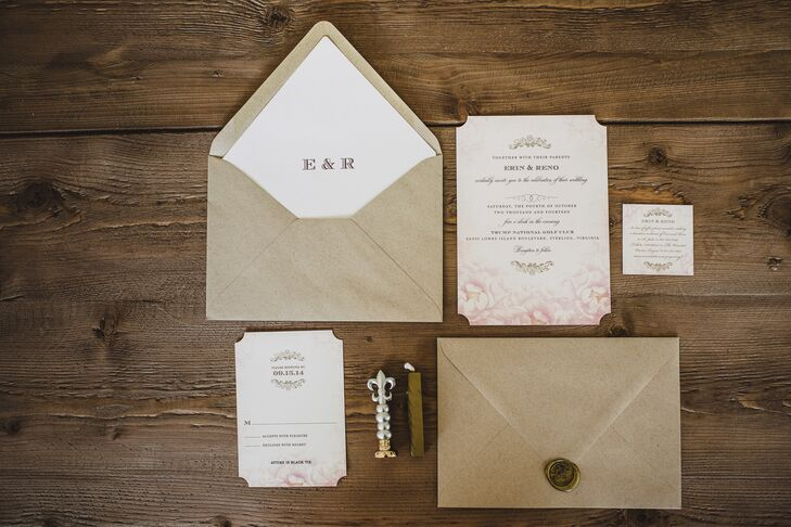 Taupe and Blush Invitation Suite by Wedding Paper Divas
