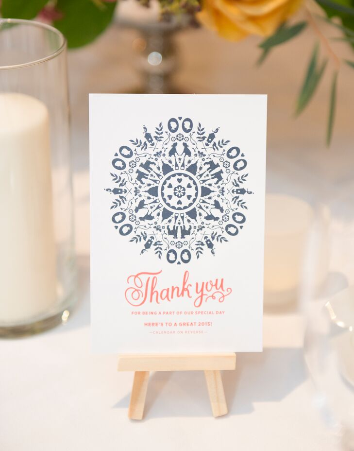 Modern Coral and Gray Thank-You Cards