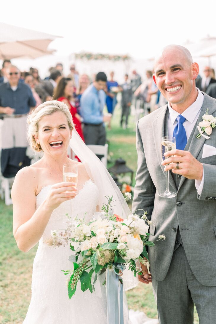 "Krysta Cordill and Jimmy Kelly wed in a modern waterfront ceremony at L'Auberge Del Mar in  Del Mar, California. ""The wedding was bursting with love a"