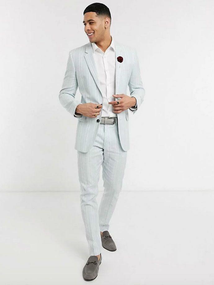 Men's light blue linen suit