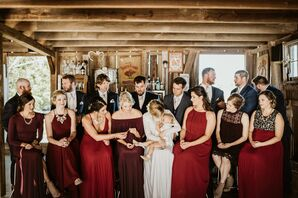 Cranberry-Colored Bridesmaid Dresses