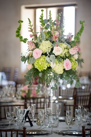Pink and Green Photo Centerpieces