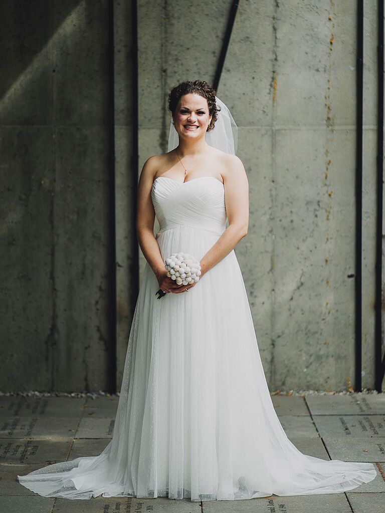 Strapless sweetheart neckling wedding gown from David's Bridal