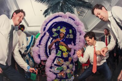 Red Flame Hunters Mardi Gras Indians