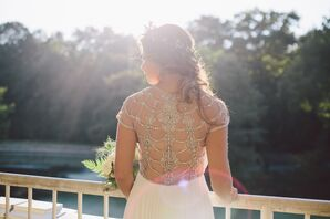 BHLDN Wedding Dress with Elaborate Crystal Back