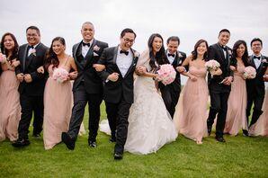 Black and Blush Wedding Party Attire